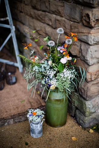 Rustic decor and flowers.